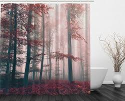 Charcoal Shower Curtain Woodsy Shower Curtain Mystic Forest Mystical Charcoal Foggy