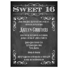 sweet 16 birthday invitation chalkboard vintage flourishes and