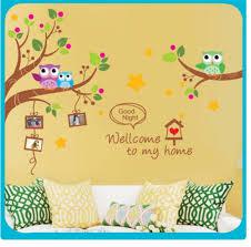 Kindergarten Bedroom Decorate Children Room Owls Wall Stickers For