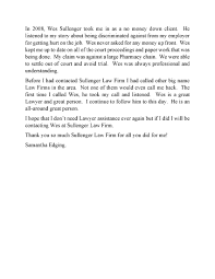 Letter To Client From Attorney by Sullenger Law Office Pllc