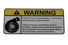 mitsubishi ralliart stickers amazon com mitsubishi warning turbocharger warning decal