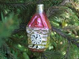 pink gold clock house vintage ornament tree mercury