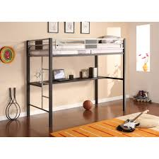 Kid Bunk Beds With Desk by Silver Metal Twin Size Loft Bunk Bed With Long Desk Underneath