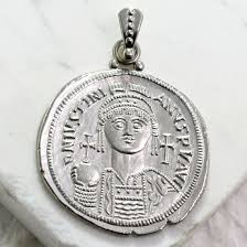 silver coin necklace pendants images Justinian coin pendant sterling silver gallery byzantium jpg