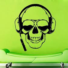 popular vinyl wall music buy cheap vinyl wall music lots from new creative skull music vinyl wall headphones skull glasses cool decor rock pop for bedroom mural
