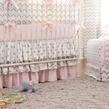 pink and gray chevron 2 piece crib bedding set carousel designs