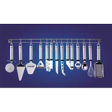 barre pour ustensile de cuisine barre tringle à suspendre avec 12 ustensiles de cuisine
