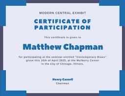 blue corner border participation certificate templates by canva