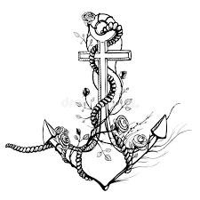 anchor with roses black ink stock vector