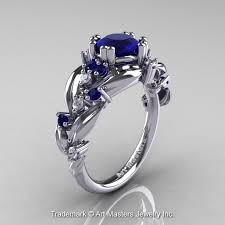 leaf and vine engagement ring nature inspired 14k white gold 1 0 ct blue sapphire leaf