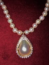 diamond pearl pendant necklace images Antique teardrop pearl pendant with white diamonds on south sea jpg