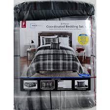 Mainstays Bedding Sets Mainstays Bed In A Bag Bedding Comforter Set Grey Plaid Walmart Com
