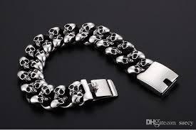 skull link bracelet images 19mm heavy punk rock skull mens bracelets bangles 2018 vintage jpg