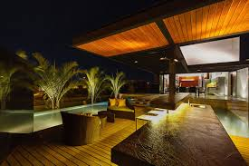 outdoor lighting pool bar terrace contemporary residence in