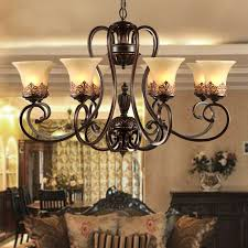 Bronze Chandelier With Shades Aliexpress Com Buy Antique Black Wrought Iron Chandelier Rustic