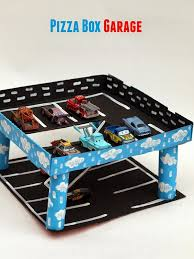 Build A Toy Box Car by Pizza Box Car Garage Pink Stripey Socks