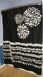 Black Ruffle Shower Curtain Shower Curtain Custom Made Ruffles And Flowers Designer Fabric