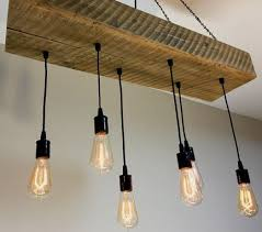 Chandelier With Edison Bulbs Buy Hand Crafted Reclaimed Barn Wood 1 2 Beam Chandelier Light