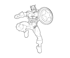 captain america coloring pages kicking coloringstar