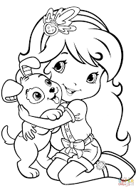 strawberry shortcake with pupcake coloring page free printable