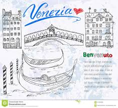 Map Venice Italy by Venice Italy Sketch Elements Hand Drawn Set With Flag Map