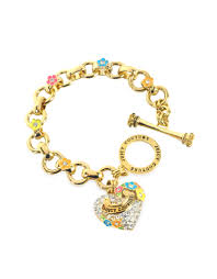 flower charm bracelet images Lyst juicy couture pave heart and flower charm bracelet in metallic jpeg