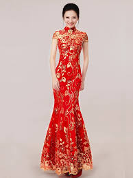 shop red ankle length sequined fishtail cheongsam qipao wedding