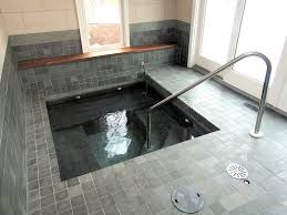 bathroom slate spa square in floor bath tub using grey ceramic