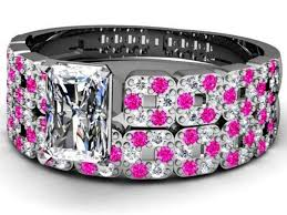 black and pink wedding ring sets 6 amazing ideas of black and pink wedding rings lovely rings