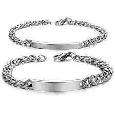 Engraved Necklaces For Couples Personalized His And Hers Stainless Steel Id Couple Bracelets