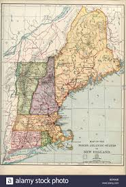 New England On Map Original Old Map Of New England From 1875 Geography Textbook Stock