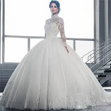 wedding dress for muslim sleeve muslim wedding dresses 2017 princess high neck luxury