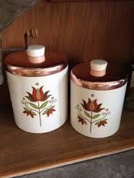 vintage canister set plastic rubbermaid orange retro flower lids