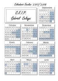 Calendario Diciembre 2018 Colegio Gabriel Celaya De Móstoles Calendario Escolar 2017 2018