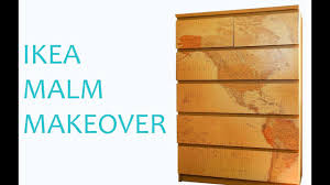 ikea hack malm drawers makeover using map wallpaper easy diy