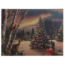 raz lighted tree in forest print on canvas shelley b home and