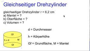 oberfläche zylinder gleichseitiger drehzylinder oberfläche und volumen