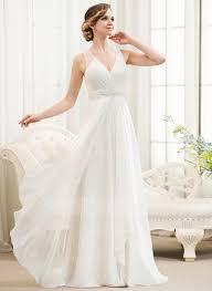 chiffon wedding dress a line princess v neck sweep chiffon wedding dress with
