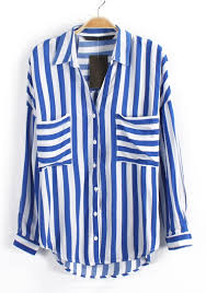 striped blouse blue striped print pockets sleeve chiffon blouse blouses tops