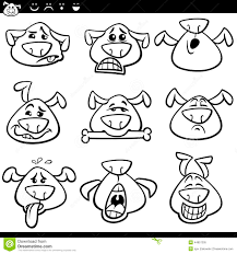 dog emoticons cartoon coloring page stock vector image 44857205