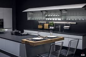 Glass Door Cabinets For Kitchen by Black Small Breakfast Bar White Marble Backsplash And Countertop