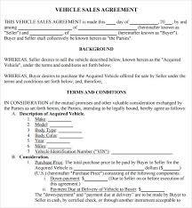 doc 728950 sample vehicle sale agreement u2013 the used car sales