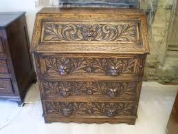 green bureau bureau desk carved oak green c1890 170523
