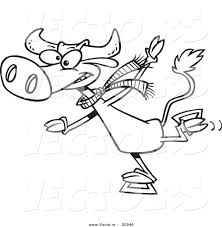 vector of a cartoon cow ice skating coloring page outline by
