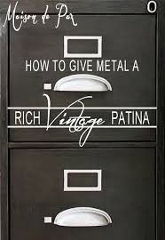Chalk Paint On Metal Filing Cabinet How To Give Metal A Rich Vintage Patina Sand Paper Craft Paint