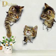 wall decoration sticker promotion shop for promotional wall hole vivid peep 3d cats wall decals bathroom decoration wc toilet sticker pedestal pan cover sticker vinyl home decor