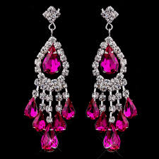 fuschia chandelier stress away bridal jewelry boutique silver fuchsia chandelier