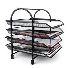 File Desk Organizer by 4 Tier File Document Letter Paper Tray Office Desktop Organizer