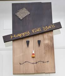 Wood Halloween Crafts Wooden Pallet Style Scarecrow Face Halloween Fall Decoration