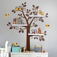 stickers arbre chambre enfant pépinière mur stickers arbre hibou bébé et mère mur